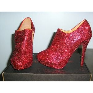 Newport News Shoes - ooak red glitter ankle boots booties size 6.5